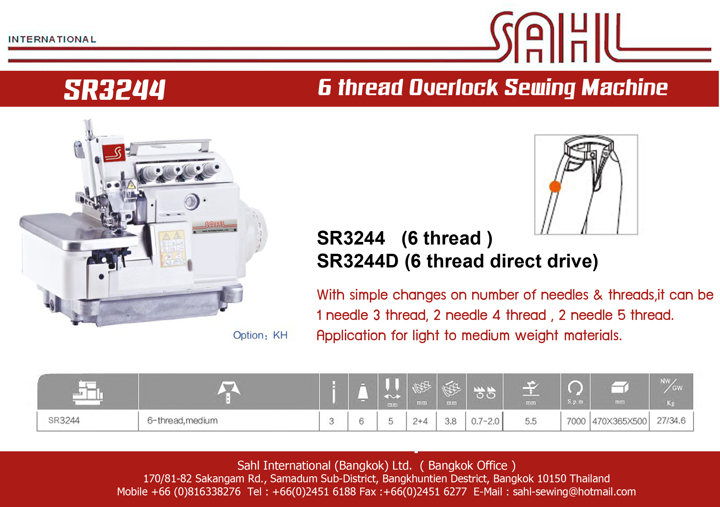 SR3244-6 thread Overlock Sewing Machine